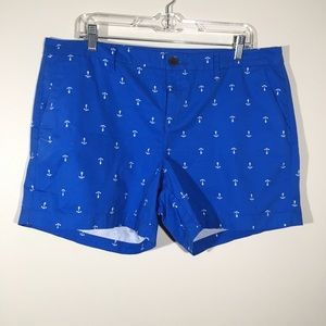 Old Navy Blue Shorts With White Anchors SZ 14